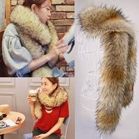 Autumn and winter womens faux Fox fur collar raccoon fur muffler faux long fur scarf cap winter cape 180cm 18 colors