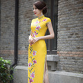 2016 Summer style Cheongsam Top quality silk Party Dress Evening Dress short sleeve Tang suit chi-pao vestidos Size:S-2XL
