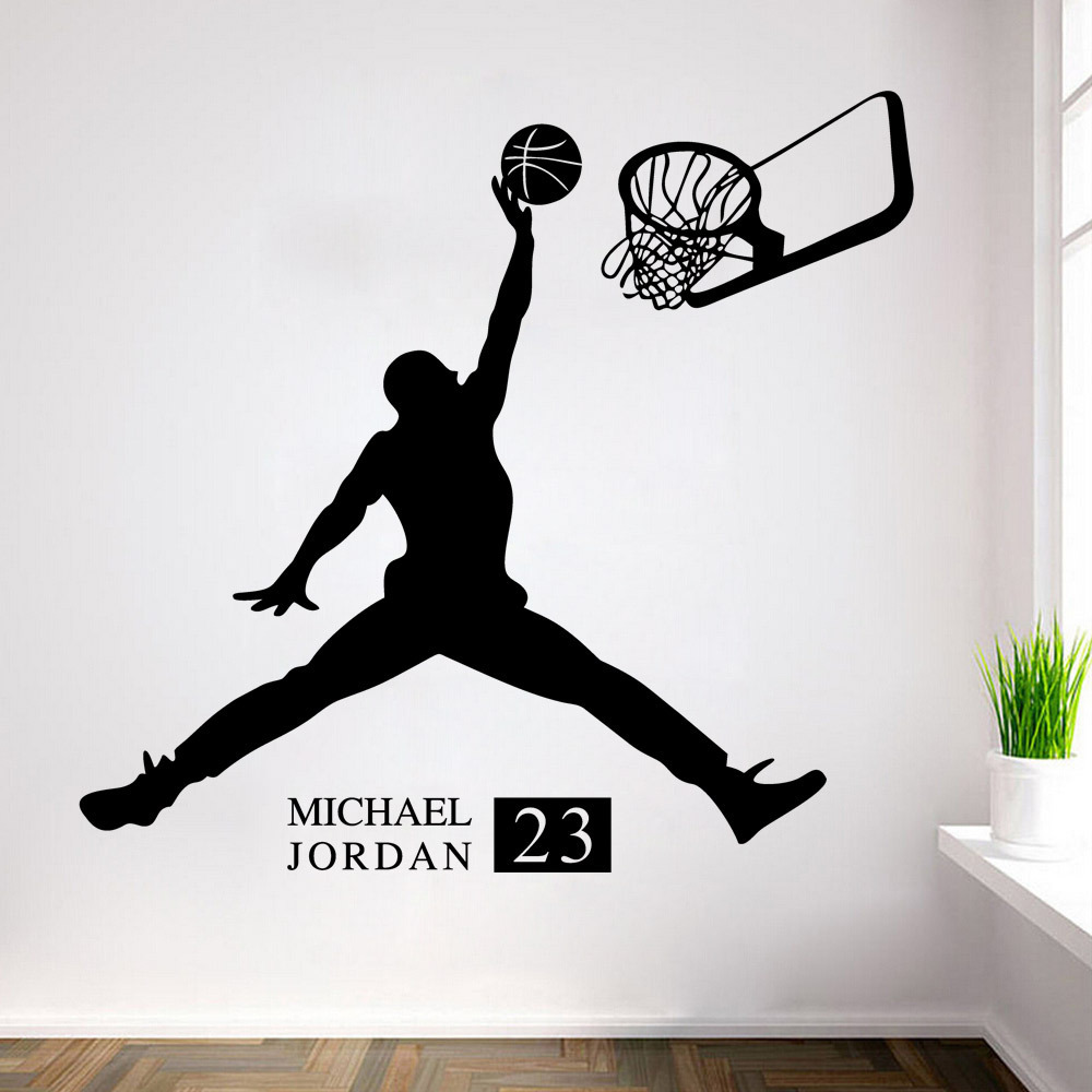 3D DIY Michael Jordan basketball PVC Wall Decals Adhesive Wall Stickers Mural Art Home Decor children boy bedroom birthday gift