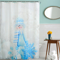 2016 Waterproof  Christmas Lantern Snowman Polyester Shower Curtain Bath Bathing Sheer Curtain for Home Decorations