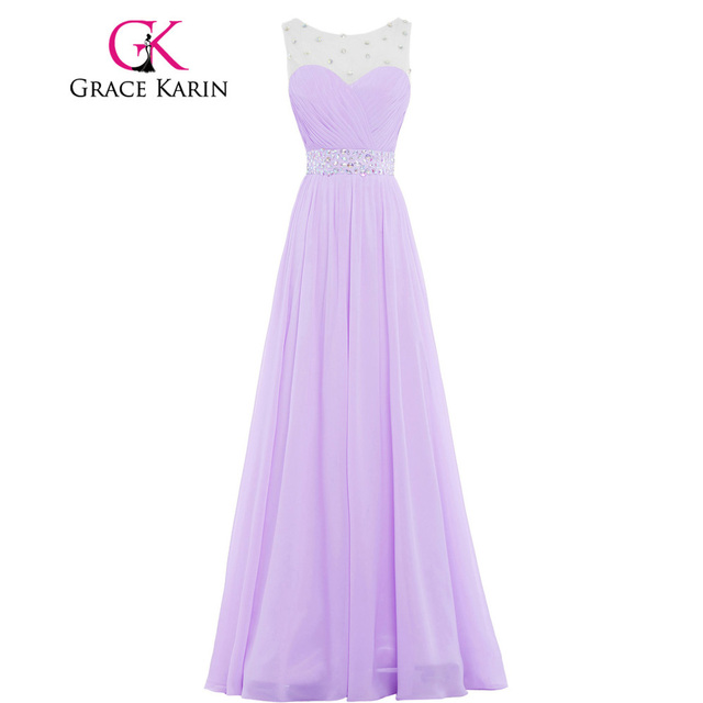 Grace Karin Beautiful Long Pink Purple Lilac Bridesmaid Dresses Floor Length Elegant Beading Chiffon Gown