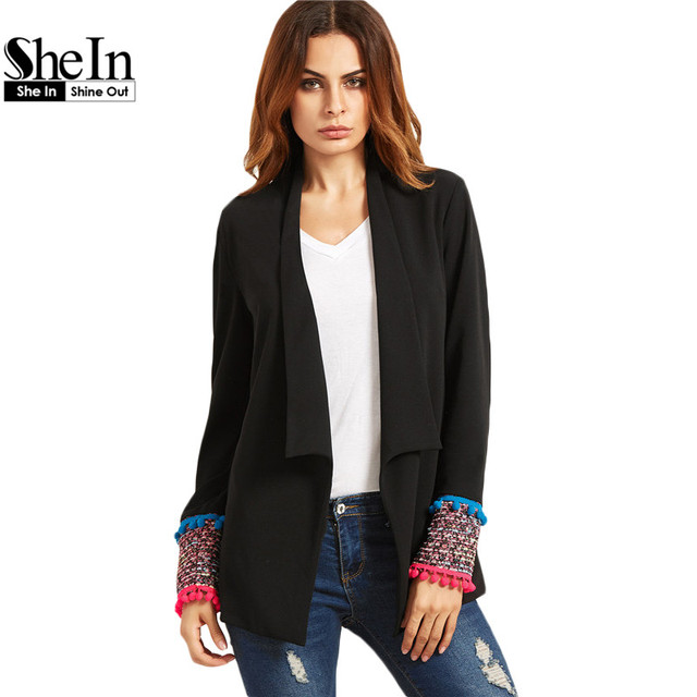 SheIn Womens Vintage Blazers For Autumn Ladies Black Shawl Collar Pom-pom Trim Tweed Cuff Color Block Fitted Blazer