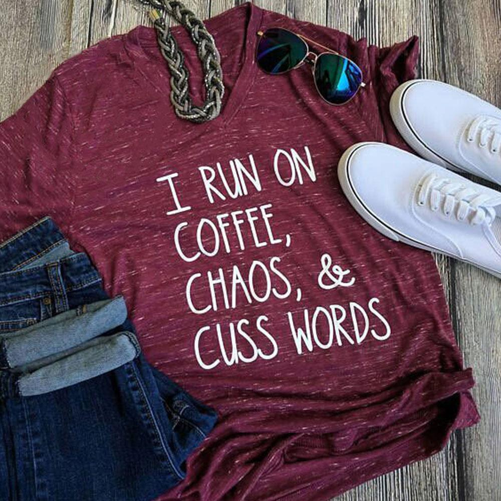 Coffee Chaos & Cuss Words Letters T-Shirts 5