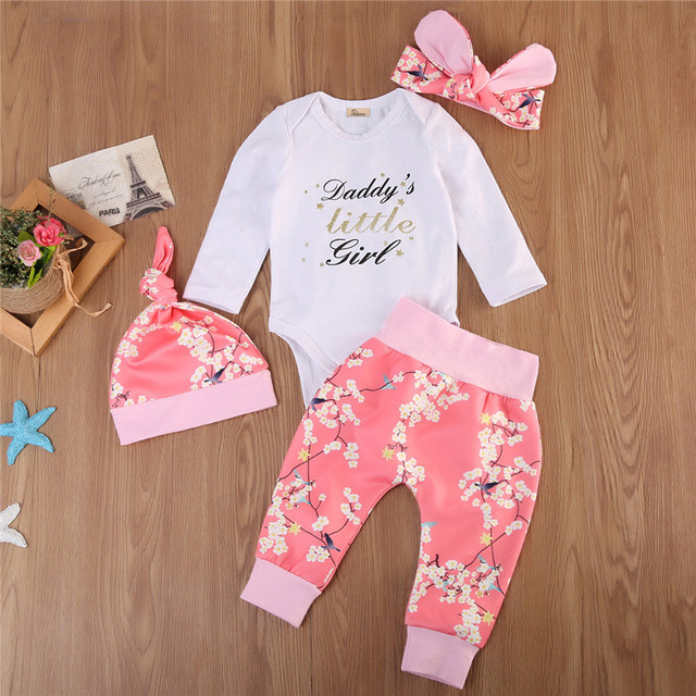267d76b29a0c5 4Pcs Newborn Kids Baby Girls Clothing Set Flower Letter Romper+Pants  Leggings+Hat+Headband Outfits Clothes Birthday Gift Wear-in Clothing Sets  from ...