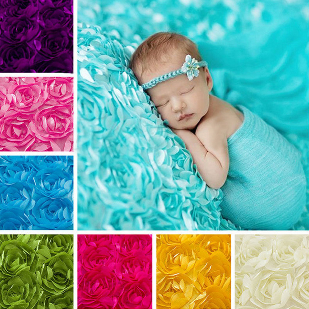 Hot Sell Baby Photography Photo Props 3D Rose Flower Backdrop Beanbag Blanket Rug Colorf ...