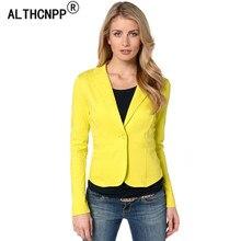 Для женщин блейзер feminino Весна пальто Для женщин Дамы Blazer Карамельный цвет Повседневное желтый Блейзер Femme Блузон Femme