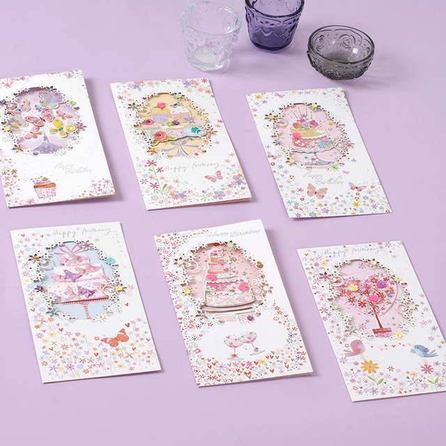 Aliexpress Buy Luxury Birthday Cards Elegant Floral Handmade