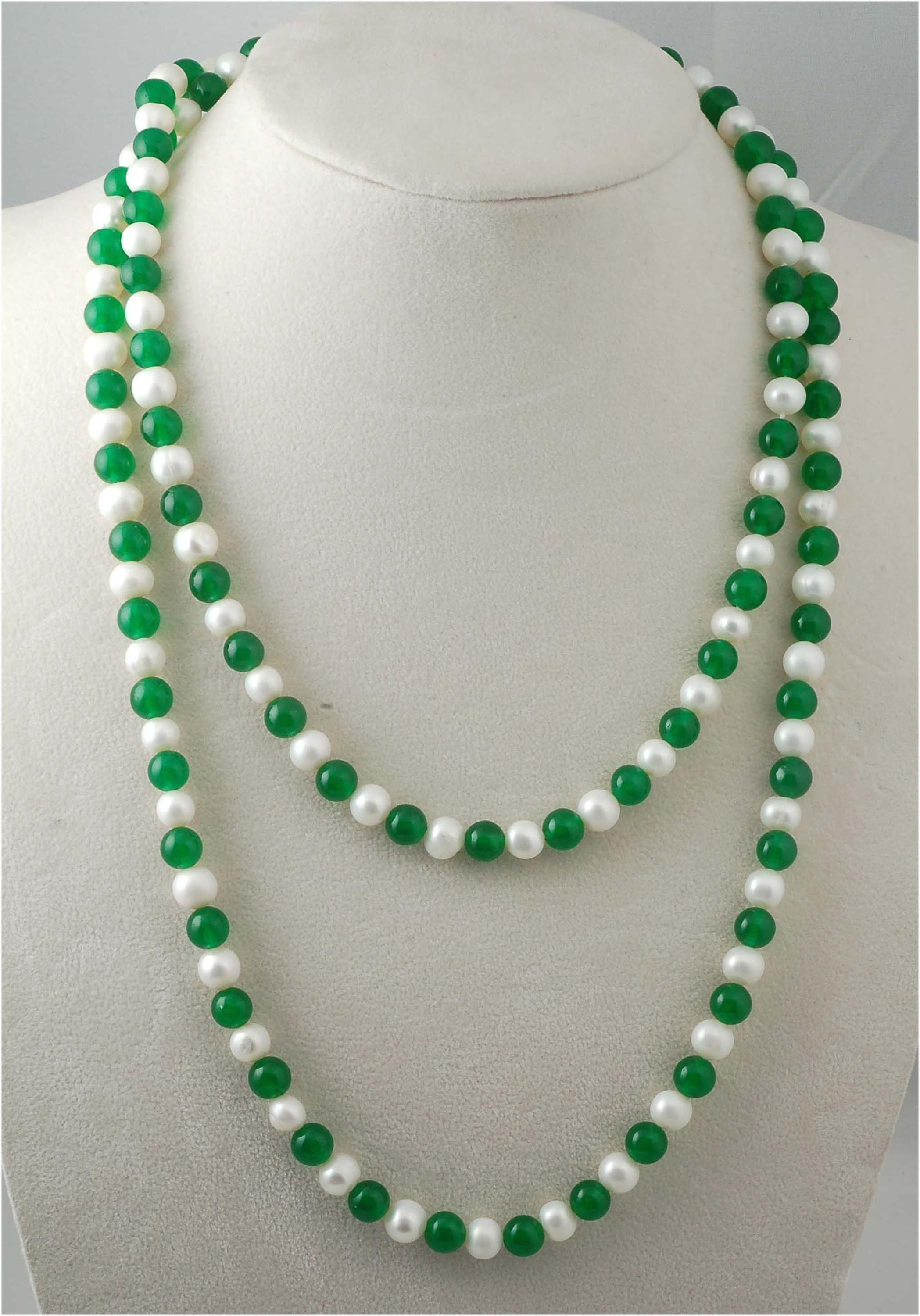 Freshwater Pearl And Green Jade Round 8Mm Necklace 45Inch Wholesale Nature Beads Fppj Gemstone image