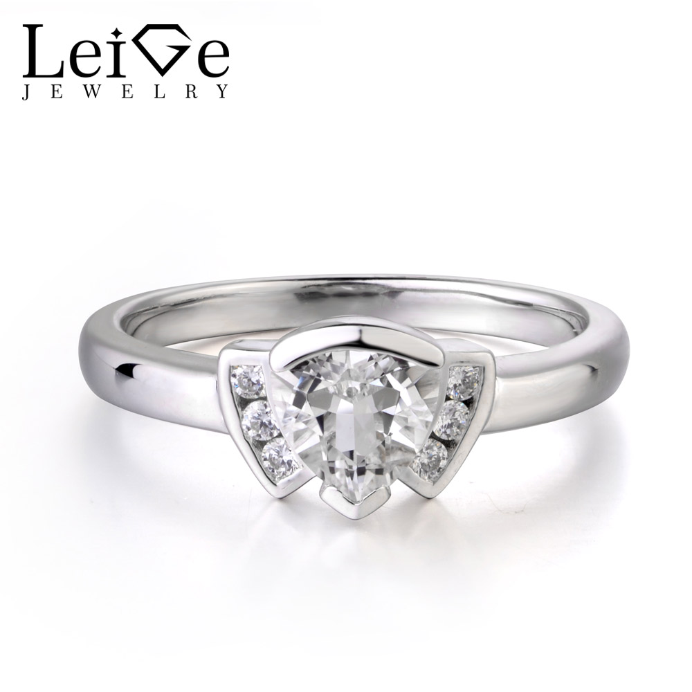 LeiGe Jewelry Natural White Topaz Ring Trillion Shape Gemstone Wedding bands 925 Sterling Silver Ring Trendy Gifts for GirlsLeiGe Jewelry Natural White Topaz Ring Trillion Shape Gemstone Wedding bands 925 Sterling Silver Ring Trendy Gifts for Girls