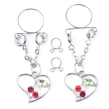 New Fashion Stainless Steel Heart Cherry Non pierced Clip On Nipple Rings Women Fake Nipple Dangle Adjustable Body Jewelry