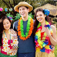 50pcs/100pcs Hawaiian Necklace Tropical Hawaii Cloth Flower Wreath Party Decor Ghirlanda di fiori hawaiana H99F