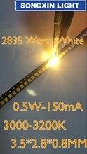 4000 sztuk 2835 ciepły biały LED SMD Chip 0.5W 3V 150mA 50 55LM Ultra jasny SMT montaż powierzchniowy LED Chip oświetlenia lampa diodowa emitująca światło