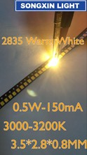 4000pcs 2835 Warm White SMD LED Chip 0.5W 3V 150mA 50 55LM Ultra Bright SMT Surface Mount LED Chip Light Emitting Diode Lamp