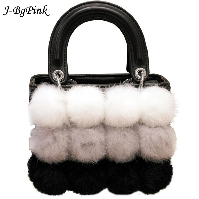 100% Rabbit Fur Handbags 2018 Winter Shoulder Bag Real Fur Handbag Women Messenger Bag Lovely Bunny Shoulder Bag Tote