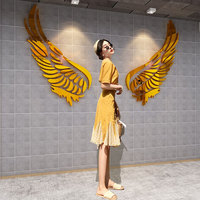 Girls Room Decoration Wall mirror golden sliver Angel wings Acrylic wall sticker creative self adhesive DIY wall decoration