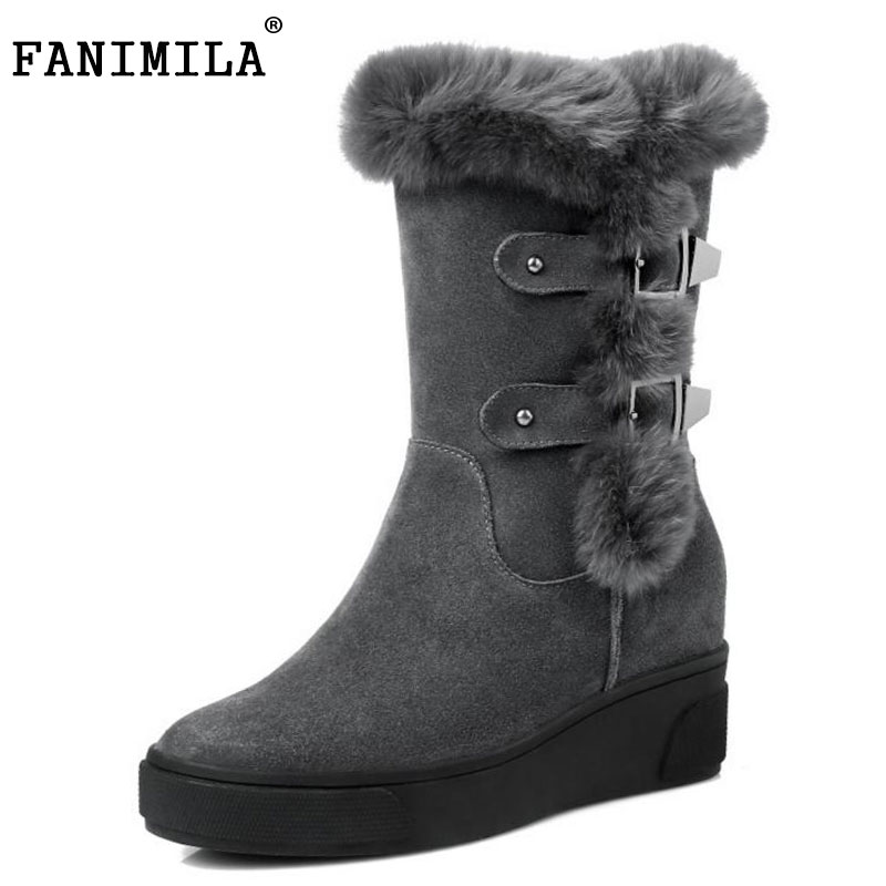FANIMILA Women Real Leather Snow Boots Platform Warm Fur Wedges Boots Cold Winter Shoes Short Botas Women Footwears  Size 34-39