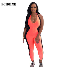 Backless Halter Bodycon Jumpsuit Sexy V-neck Patchwork Rompers Jumpsuit skinny Club Playsuit overalls combinaison femme цена