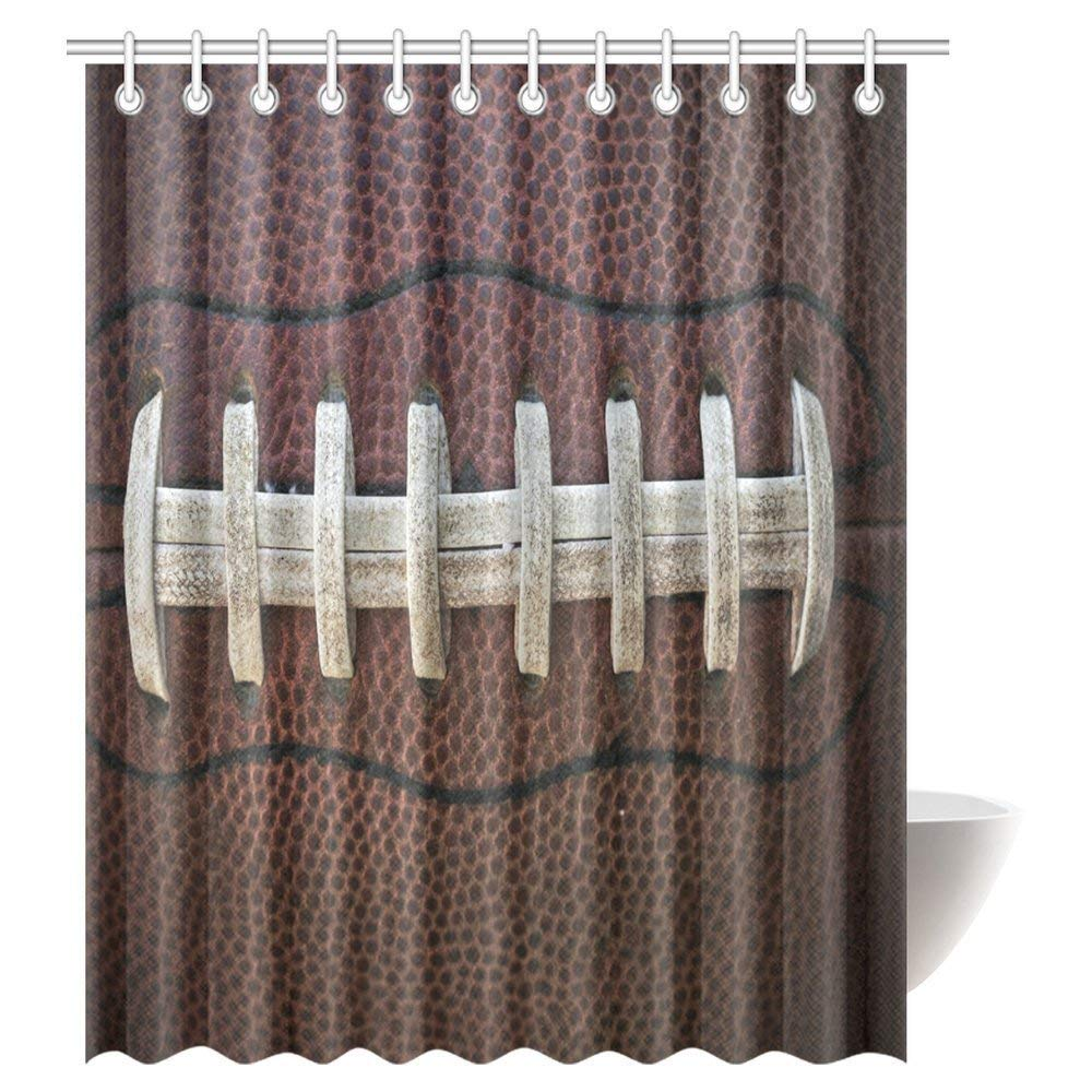 Aplysia Sports Decor Shower Curtain American Football Leather Laces Fun Traditional Sport Fabric Bathroom Curtains In From Home