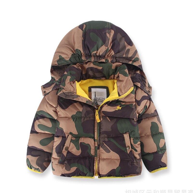 Fiúk téli kabátja Puffer kabát álcázás Hűvös kapucnis dzseki tartsa meleg gyermek cipzáras kabát 2-8 évig Gyerek Márka Jacket