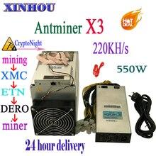 XMC ETN DERO Шахтер AntMiner X3 220KH/s CryptoNight горные машины лучше чем AntMiner S9 T9 V9 Innosilicon A8 A9 whatsminer m3