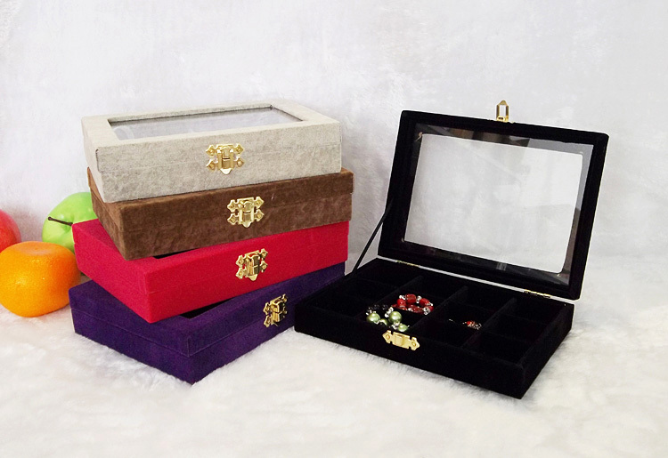 Fashion Jewelry Display Tray 12 Cells Boxes Organizer with Cover for