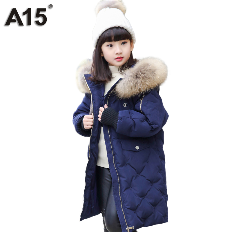 A15 Brand Warm Kids Down Jacket for Girls Children's Winter Thick Down Jacket Boys Down Long Big Fur Hooded Baby Outerwear Parka a15 girls down jacket 2017 new cold winter thick fur hooded long parkas big girl down jakcet coat teens outerwear overcoat 12 14