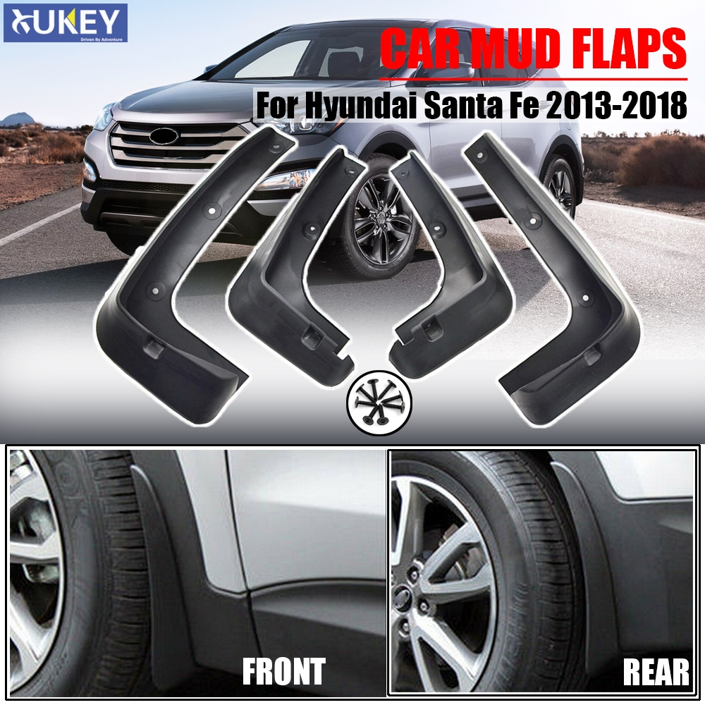 4pcs Plastic Tire Splash Guards Mud Flaps For Hyundai Santa-Fe IX45 2013-2018