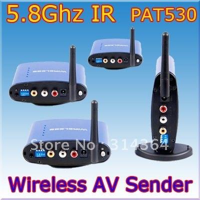 PAT-530 5.8Ghz Wireless Audio+Video AV Transmitter 1xSender + 3xReceiver 200M wireless av sender,Free Shipping,Wholesale free shipping boscam thunderbolt2000 2000mw 5 8ghz video av audio video transmitter sender fpv