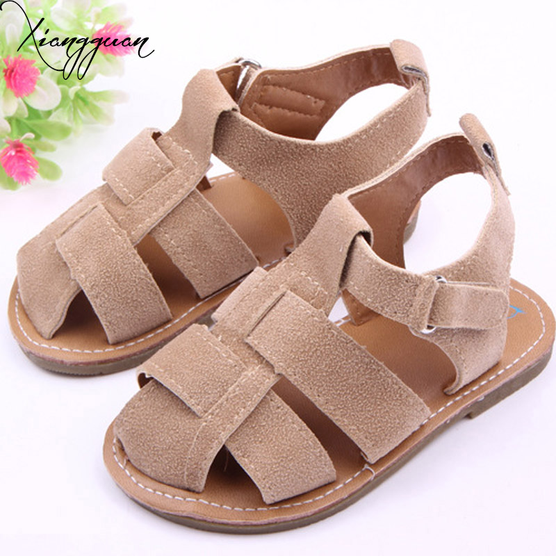 New Summer Baby Sandals Nubuck Leather Fashion Rubber Sole Newborn Toddler Baby Boy Sandals Shoes 0-15 Months