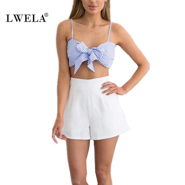 76a2d8c1024 LWELA striped bow crop top summer short cut bustier casual fashion tank top  camis