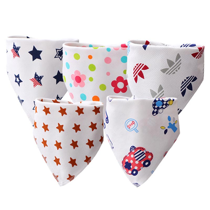 Baby Bibs High Quality Triangle Double Layers Cotton Cartoon Character Animal Print Baby Bandana Bibs Dribble Bibs(China)