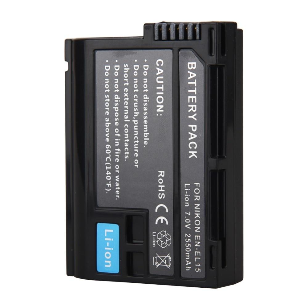 2018 100% New 2550mAh EN-EL15 ENEL15 EN EL15 Camera Battery For Nikon DSLR D600 D610 D800 D800E D810 D7000 D7100 D7200 V1