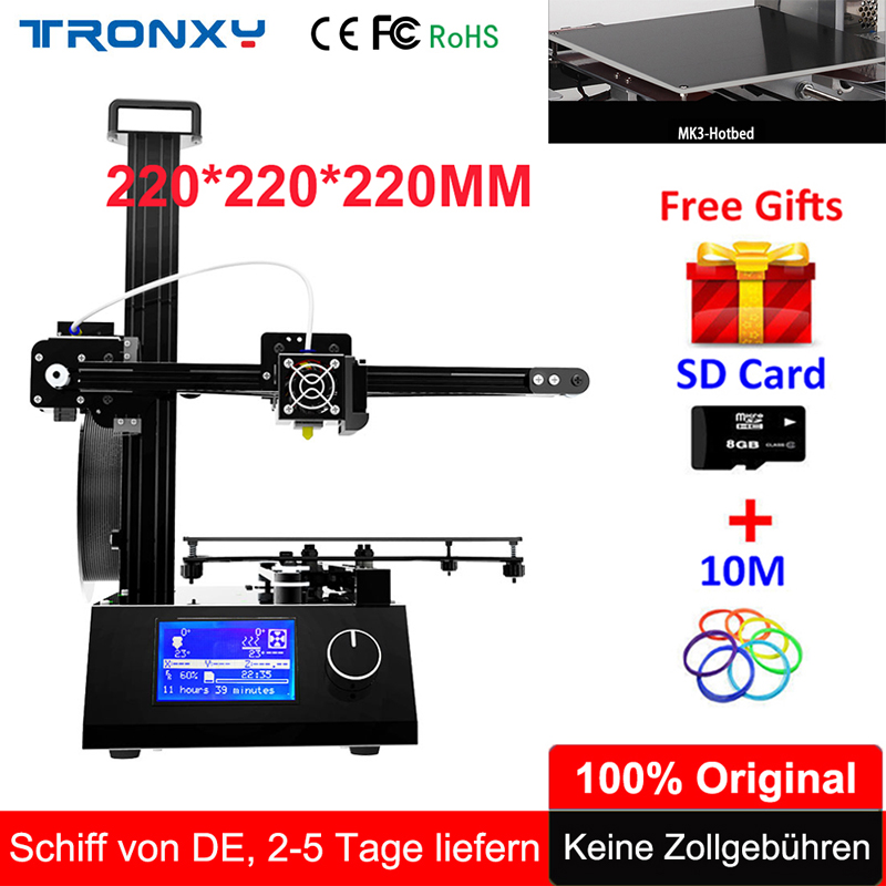 Tronxy i3 3D Printer High Precision DIY Kit Print Size 220*220*220mm With Aluminium Extruder Hotbed SD Card Build Tools Filament tronxy education 3d printer diy kit high precision stable aluminium profile 220 220 300 tronxy diy 3d printer with auto leveling