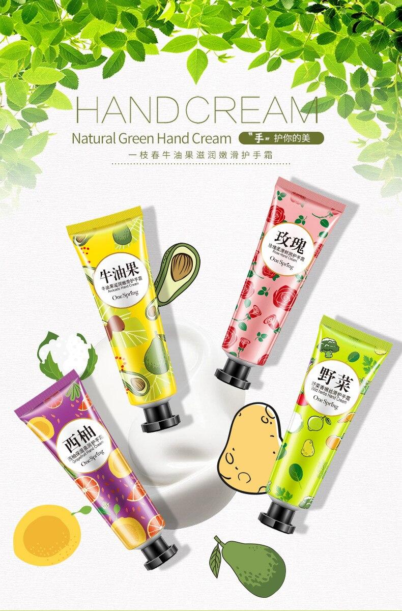 300pcs/lot One spring plant fresh fruit fragrance silky hand cream plant fresh fragrance nourishing emollient hand cream