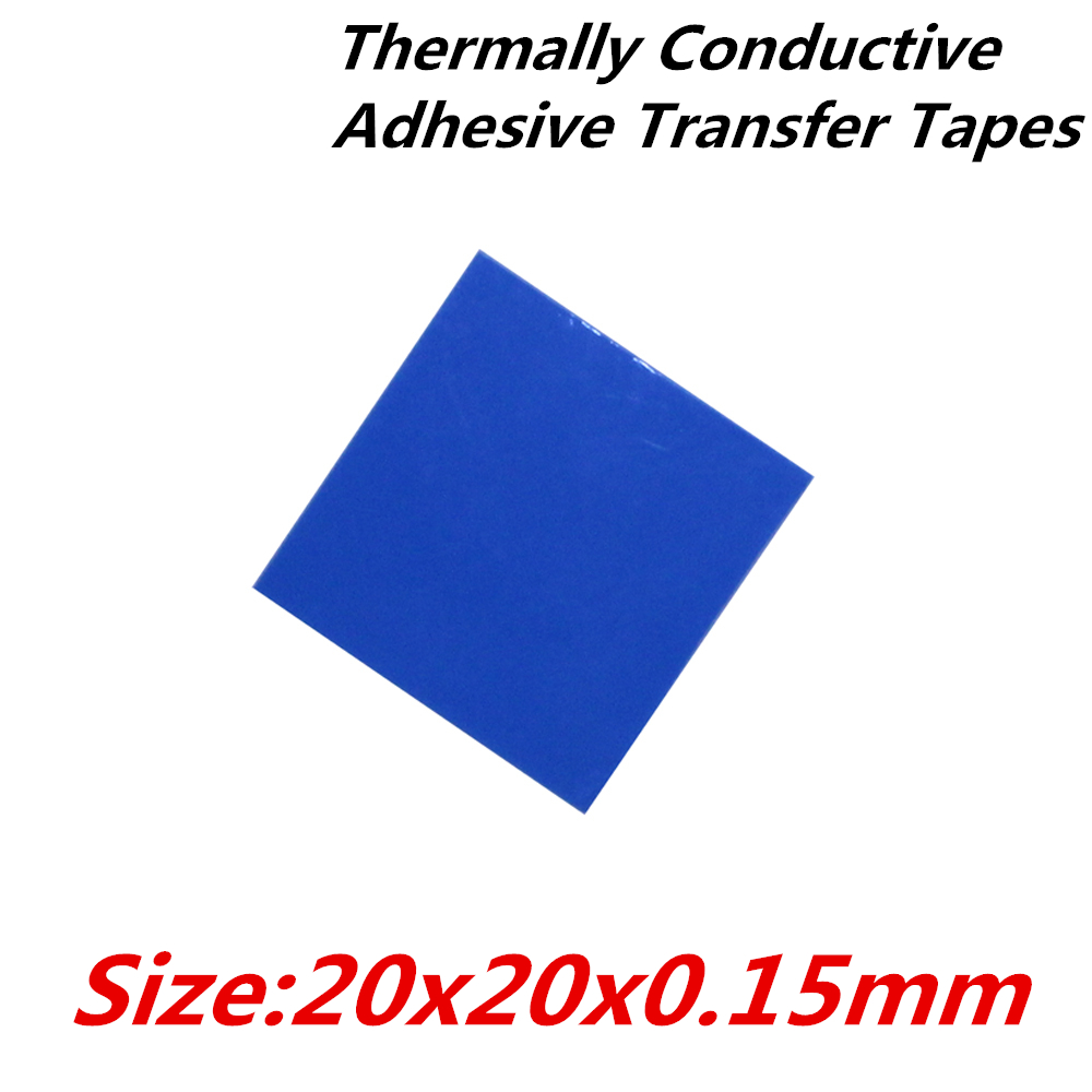 40pcs/lot  20x20mm Thermally Conductive Adhesive Transfer Tapes thermal pad double sided tape for heatsink  radiator 20pcs lot aluminum heatsink 14 14 6mm electronic chip radiator cooler w thermal double sided adhesive tape for ic 3d printer