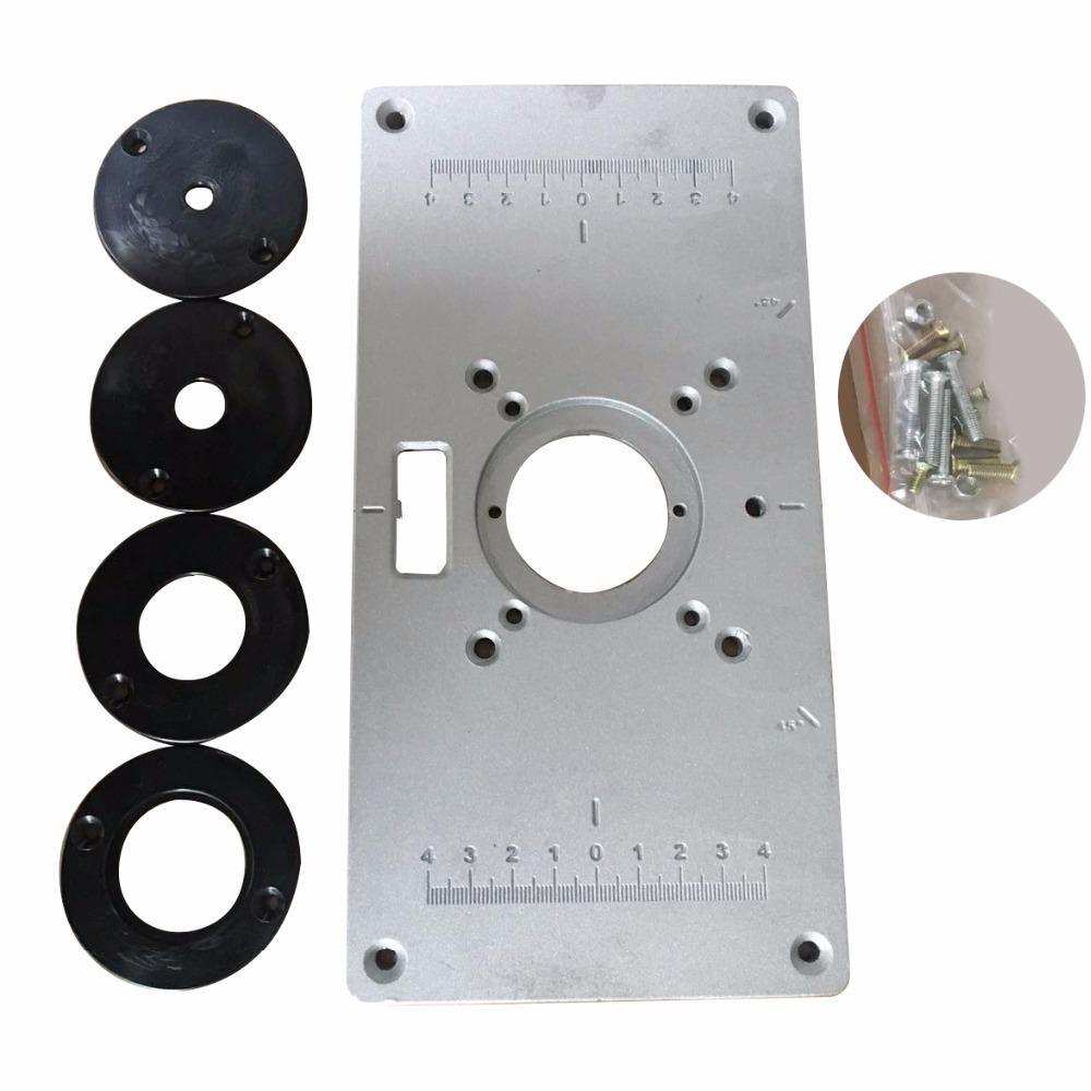 New 700C Aluminum Router Table Insert Plate 4Pcs Insert Rings Wood Router Table For Woodworking Benches 235mm*120mm*9mm