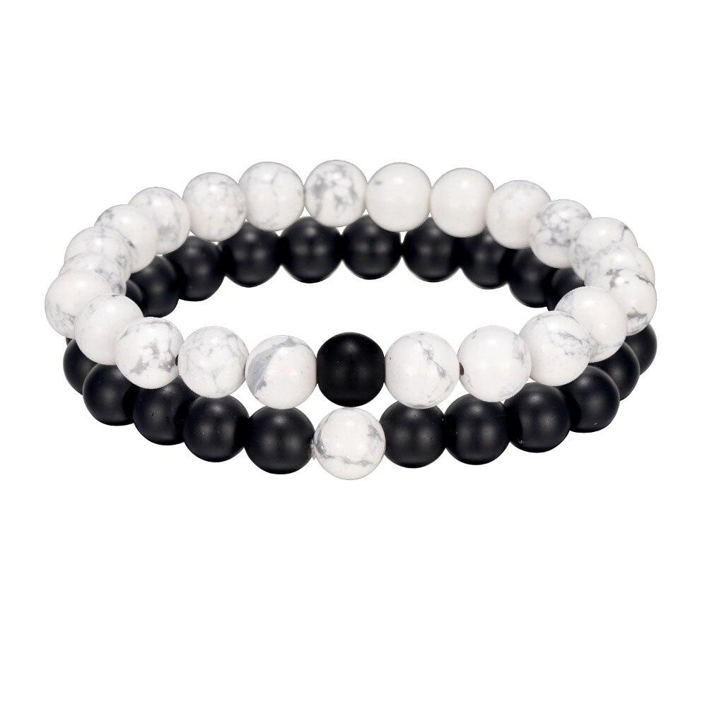 ALIUTOM 2Pcs Black White Natural Stone Beaded Bracelet Men's And Women's Bracelets Friends Couples Best Gifts