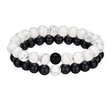 ALIUTOM 2 шт черный белый натуральный камень браслет из бисера мужские и женские браслеты для друзей и пар лучшие подарки