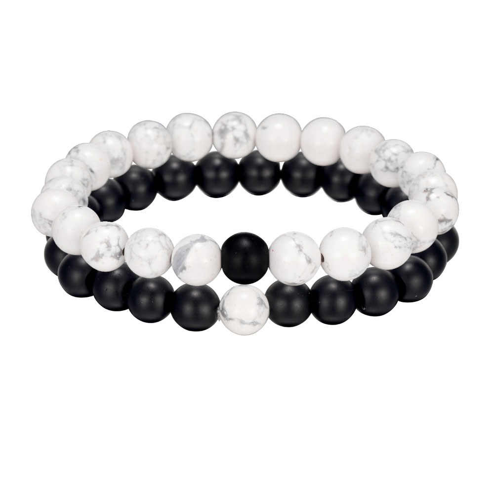 ALIUTOM 2Pcs Black White Natural Stone Beaded Bracelet Men's and Women's Bracelets Friends Couples Best Gifts