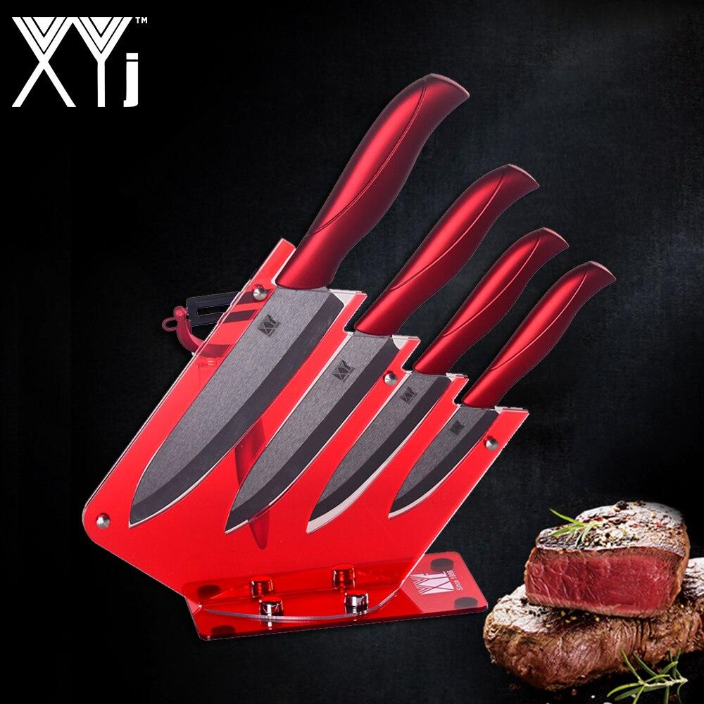 XYj 4 Pcs קרמיקה מטבח סכין + אחד קולפן + סכין מחזיק בלוק Stand גבוהה באיכות מטבח סכין סט חם אביזרי כלים