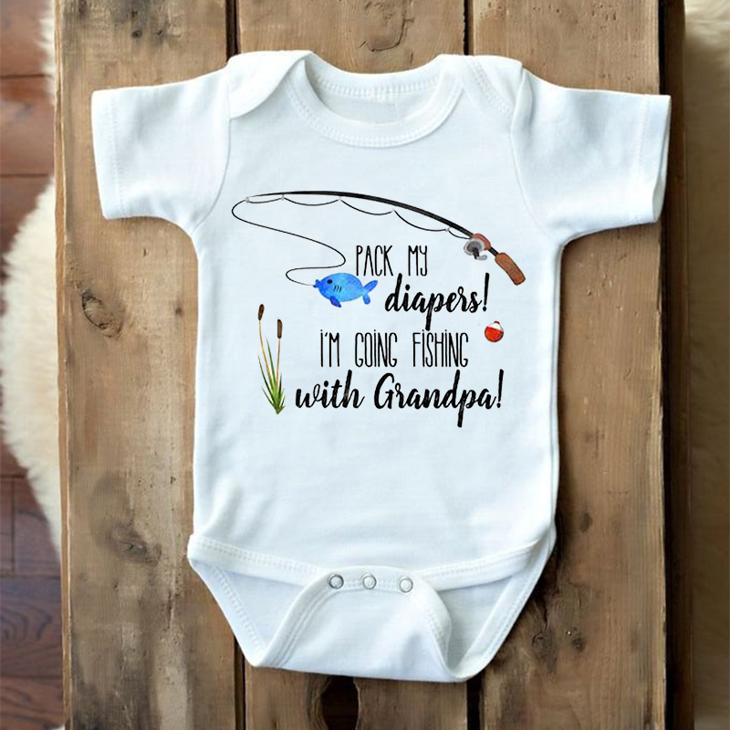 DERMSPE Newborn Boy Girl Short Sleeve Letter Print   Pack My I'm Going Fishing With Grandpa Romper Outfits Baby Clothes