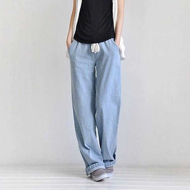 5afed89732df Moda Donna Allentato A Vita Alta Dei Jeans Larghi Pantaloni Casual Donna  Elastico In Vita pantaloni