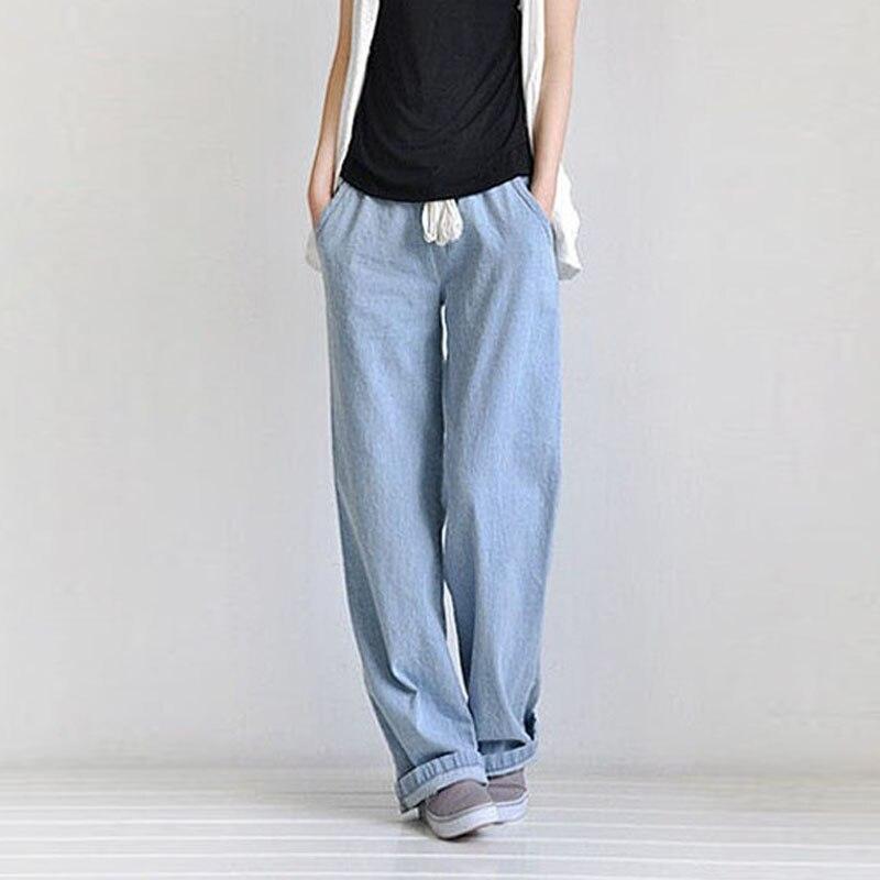 Moda Mujer Pantalones Vaqueros Holgados Cintura Alta Pantalones Vaqueros Anchos Mujer Casual Cintura Elastica Pierna Ancha Pantalones Vaqueros De Algodon Mujer Wide Leg Jeans Wide Jeansjeans Lady Aliexpress