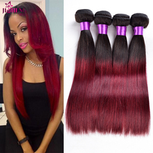 Ombre Mongolian Virgin Hair Straight 3 Bundles Ombre Burgundy Human Hair Weave Two Tone Human Hair Extensions 1b/99j stema hair