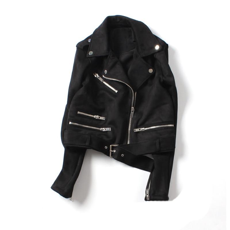 Ailegogo New Women Faux Suede Jacket Basic Biker Coat Street Outwear Short Motorcycle Black Pink Yellow Leather Jacket
