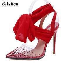 Eilyken جديد حذاء نسائي بكعب عالٍ مثير مضخات خنجر أشار تو رباط الكاحل Strappy عالية الكعب أحمر أسود السيدات أحذية الزفاف