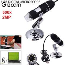 On sale Gizcam Mini LED Light Digital Microscope 50-500X 2MP electronic USB Endoscope CMOS Video Micro Camera Magnifier w/Stand Gifts