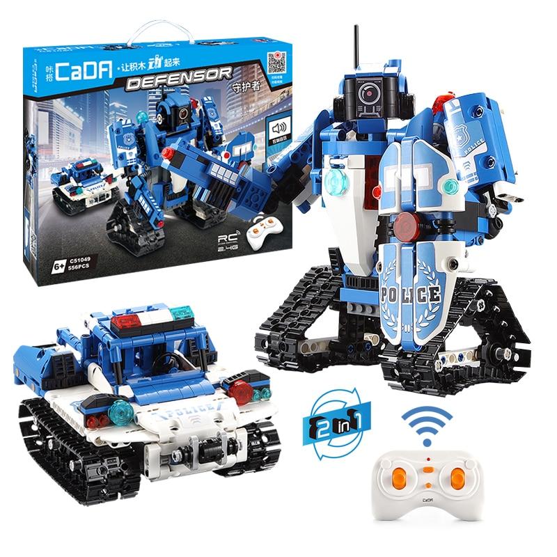 526pcs Technic Creator Police Series Building Blocks Bricks Vehicle 2-IN-1 Transformation RC Robot Car Children Educational Toys