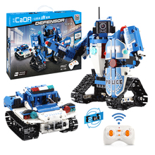 526pcs Technic Creator Police Series Building Blocks Bricks Vehicle 2-IN-1 Transformation RC Robot Car Children Educational Toys