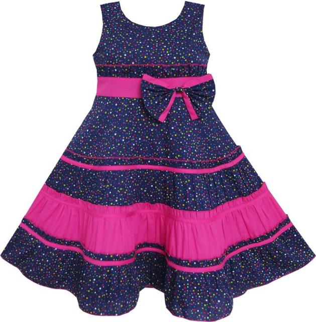Sunny Fashion roupas infantis menina Bow Tie Polka Dot listrado Print Pattern-de-rosa Natal roupa dos miúdos Crianças 7-14 Garota Verão princesa Vestidos